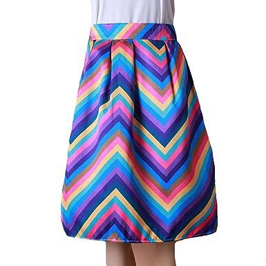 33e9ad6f487b Rainbow Chevron Zig Zag Skirt Bubble A Line Elastic Waist Printed Swing  Skirt at Amazon Women's Clothing store: