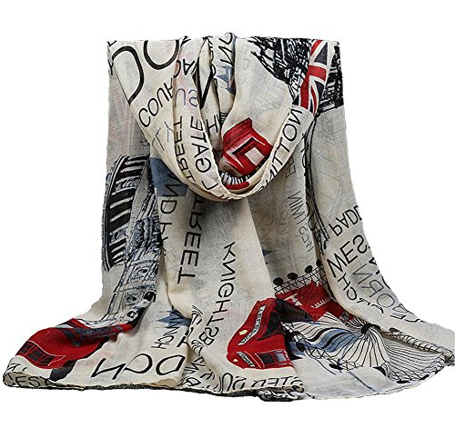 P & R Women's Print London Scenery Scarves Shawl Large...