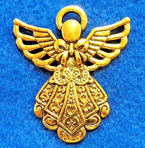 - 5Pcs. Tibetan Antique Gold Large Detailed Angel Charms Pendants Findings Charms DIY Crafting by WCS