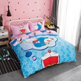 CASA Children 100% Cotton Doraemon Hello Kitty Duvet cover and Pillow cases and Fitted Sheet,Duvet cover set,4 Pieces,Full