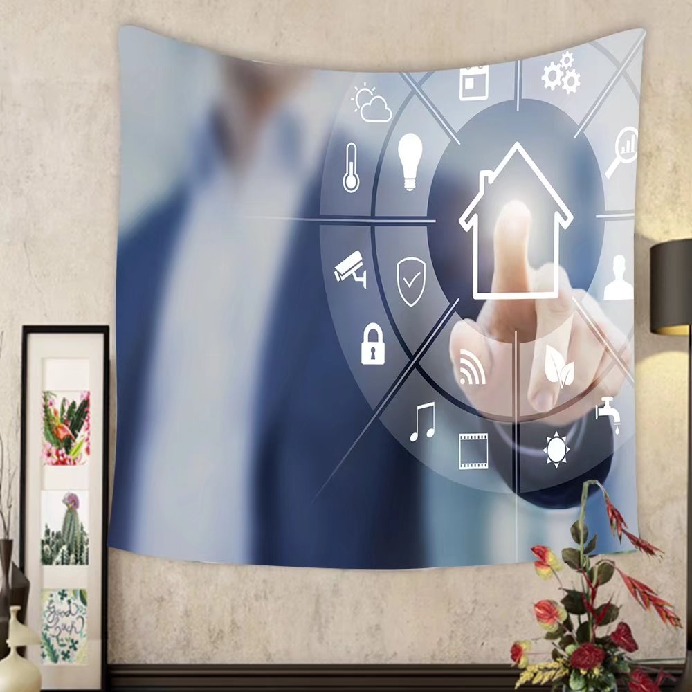 Grace Little Custom tapestry circular futuristic interface of smart home automation assistant on a virtual screen and a user