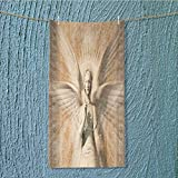 super absorbent towel Statue Of Angel Woman in Holy Cathedral Style Mythation Tan Ideal for everyday use W35.4 x H11.8 INCH