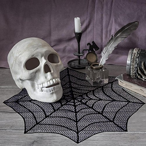 PartyTalk Halloween Spider Web Table Topper, 30-Inch Round Black Lace Tablecloth for Scary Movie Night Halloween Decorations