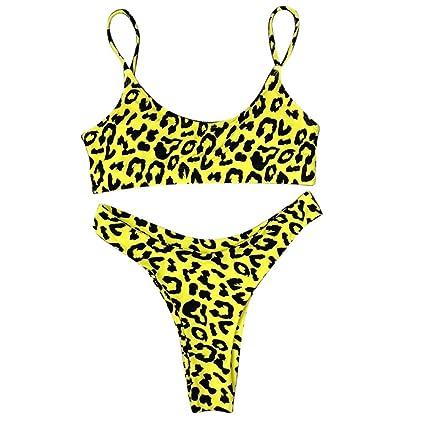c9285985df456 Amazon.com  Egmy Women Sexy Fashion Leopard Print Push-Up Padded Bra Beach  Bikini Set Swimsuit with Thin Shoulder Strap (YEM)  Garden   Outdoor