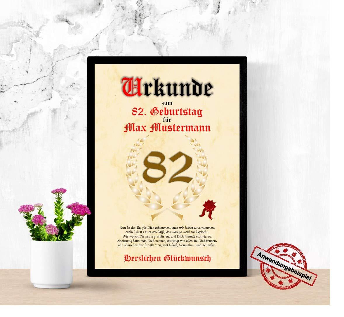 Urkunde Zum 82 Geburtstag Glückwunsch Geschenkurkunde