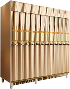 AQAWAS Armario de Tela para Ropa, Organizador Closet Plegable Impermeable, Resistente al Polvo Varilla Colgante, Armario Closet Almacenaje, para Ropa Ropero,Gold_130 x 50 x 172cm: Amazon.es: Hogar