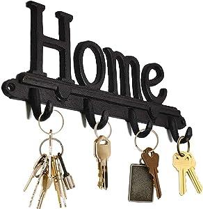 "Cast Iron Decorative Wall Organizer Hooks - Home Decor Key Rack - Four Hanging Hooks - Hat Hooks, Bag, Coat Rack, Towel Hook, Accessories (12"" x 6"" x 1.5"")"