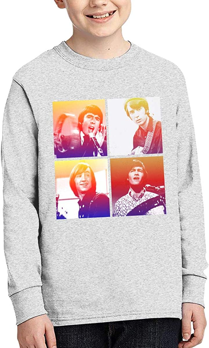 The Monkees Boys Fashion Classic Long Sleeve T-Shirt Boy Long Sleeve Cotton Round Neck T-Shirt