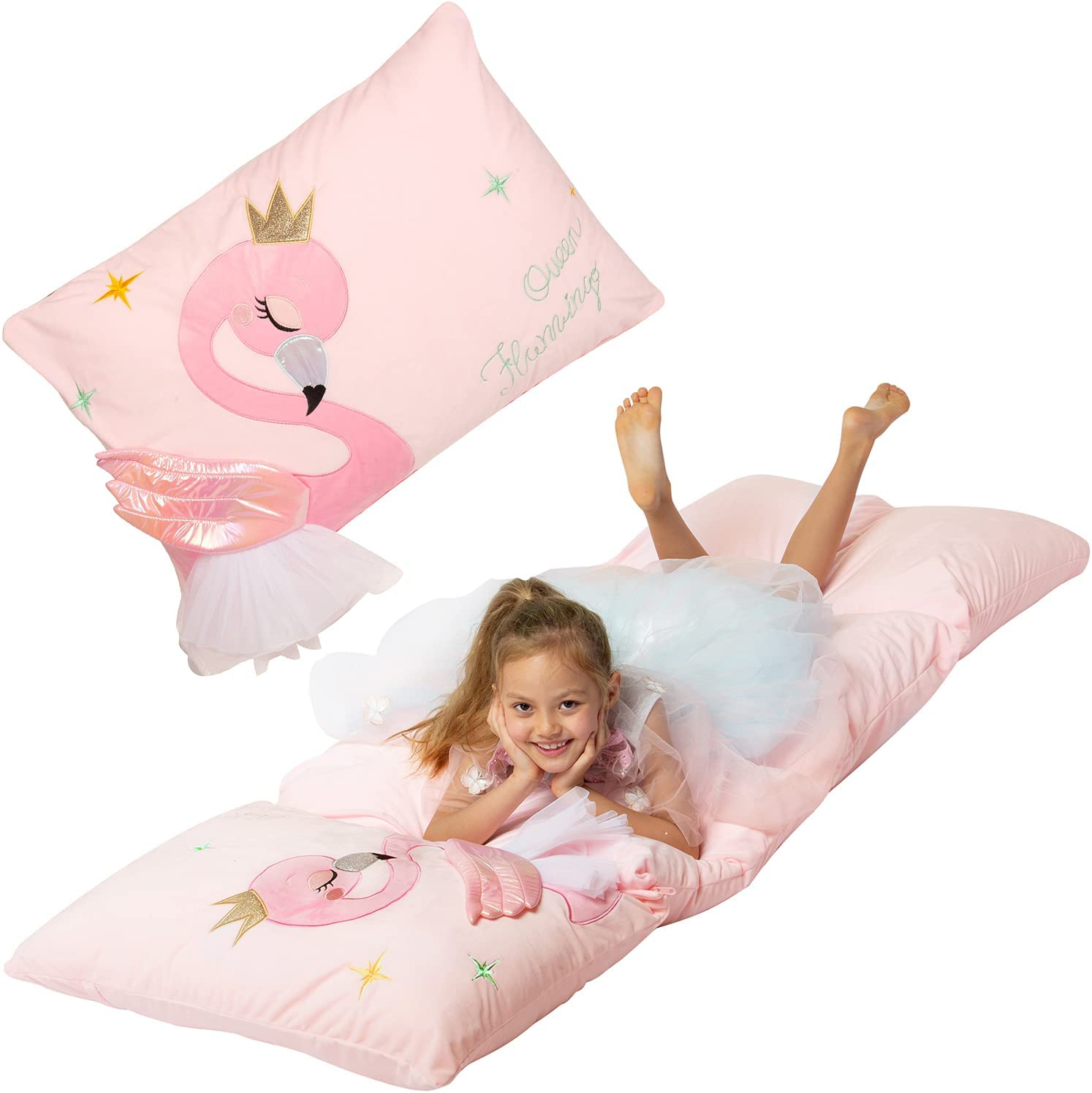 Yoweenton Flamingo Decorations Girls Room, Velvet Floor Pillow, Kids Lounge Chair for Bedroom, Kids Lounger for Teen Girl Room Décor, Cover ONLY
