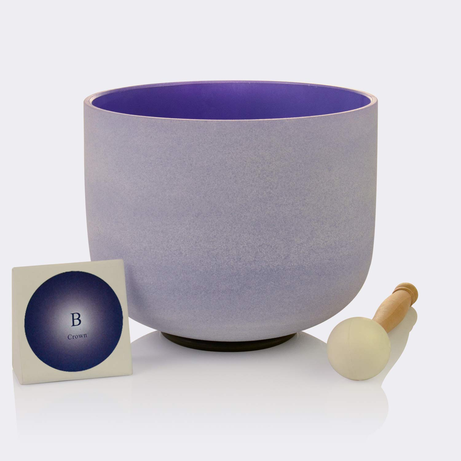 TOPFUND Singing Bowls B Note Crystal Singing Bowl Crown Chakra Purple Color 12 inch (O ring and Rubber Mallet Included) by TOPFUND (Image #1)