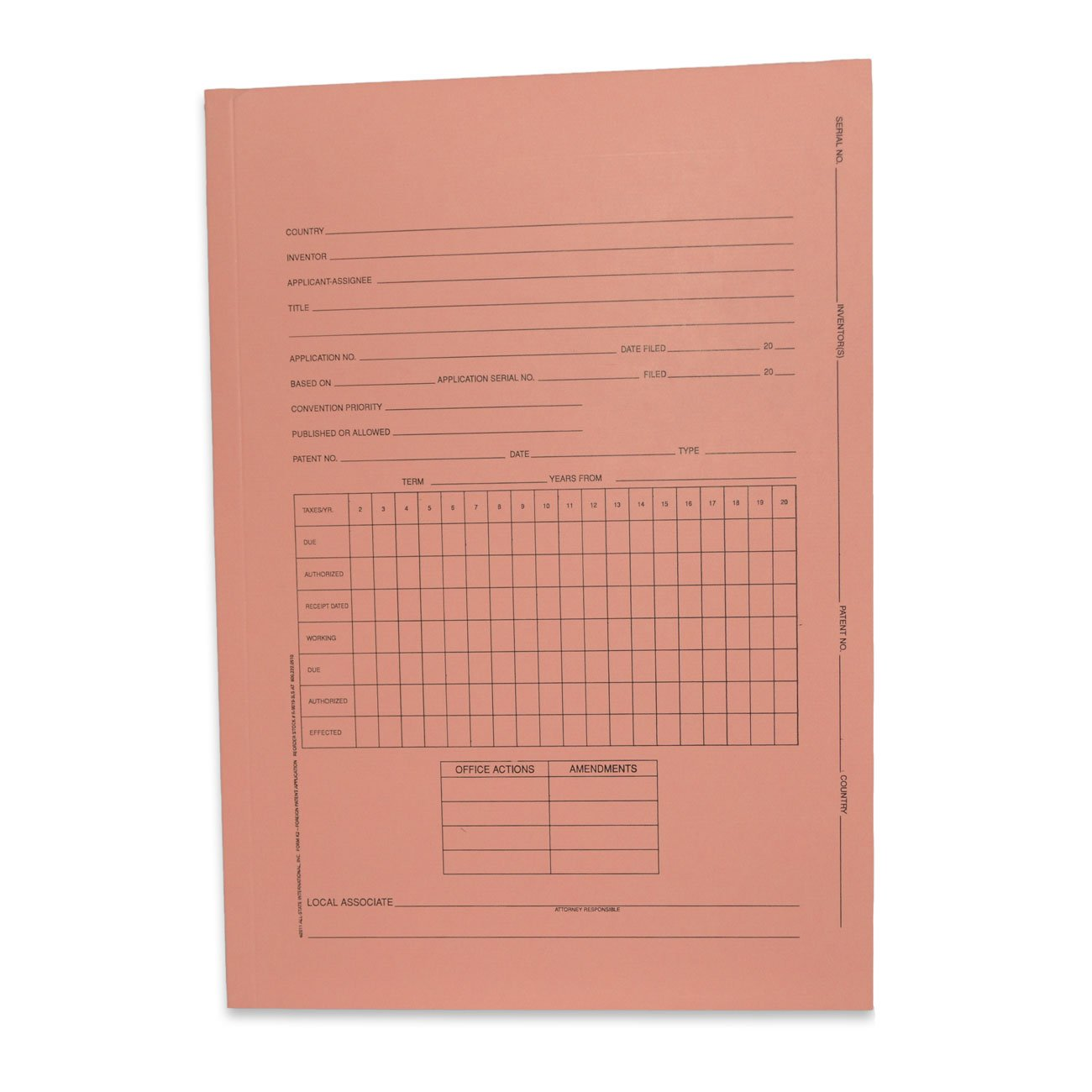Kruysman/Redweld Patent Folder, Foreign Patent Application, 3 Panel, 10 1/4'' x 14 1/2'' When Folded, Salmon, 100 per Box