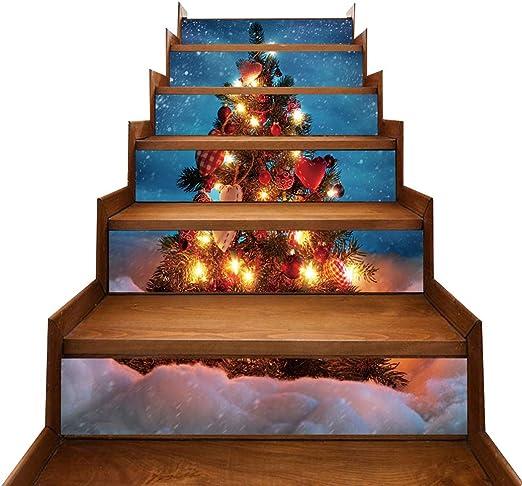 JUSTDOLIFE 6PCS Etiqueta de Escalera de Navidad Árbol de Navidad Iluminado Etiqueta de azulejo Impresa Decoración de Escalera: Amazon.es: Hogar