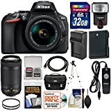 Nikon D5600 Wi-Fi Digital SLR Camera with 18-55mm VR & 70-300mm DX AF-P Lenses + 32GB Card + Case + Flash + Battery & Charger + Tripod + Filters Kit