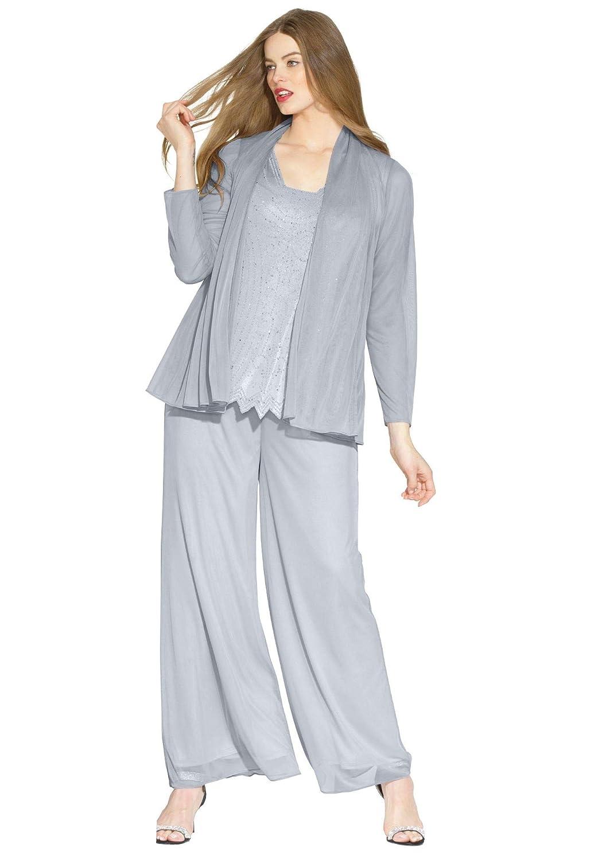 Roamans Women's Plus Size 3-Piece Mesh Pantset