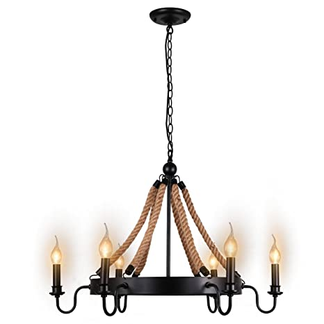 Unitary brand antique metal flaxen and black hemp rope wheel candle unitary brand antique metal flaxen and black hemp rope wheel candle chandelier with 6 e12 bulb aloadofball Image collections