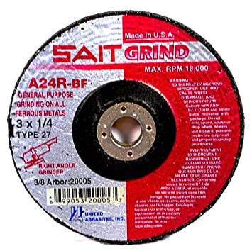 United Abrasives-SAIT 20013 Type 27 4-Inch x 1//4-Inch x 5//8-Inch Grade A24R Long Life Depressed Center Grinding Wheels 25-Pack