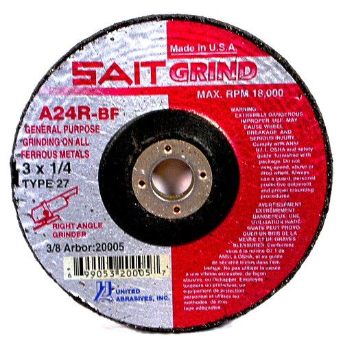 United Abrasives SAIT 20163 Type 27 4-1/2-Inch x 1/4-Inch x 5/8-11 Grade A24R Long Life Depressed Center Grinding Wheels, 10-Pack