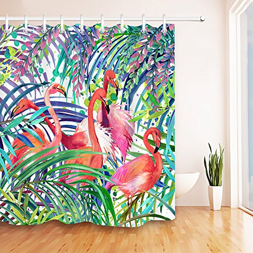Red Flamingo in Tropical Palm Leaves Decor Shower Curtain for Bathroom by LB, Watercolor Jungle Print Bath Curtain, Mildew Resistant Waterproof Fabric Decor Curtain, 72 x 72 (Red Tropical Leaves)