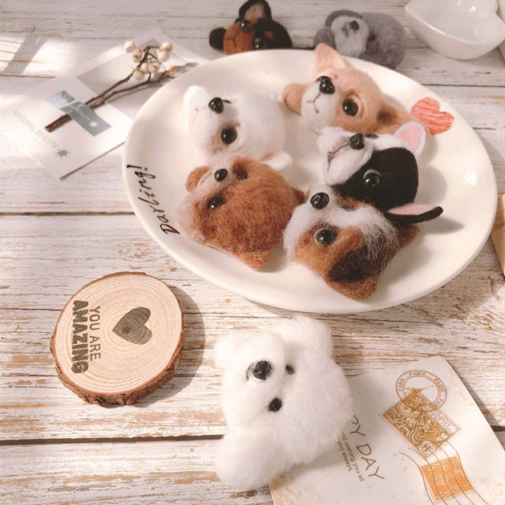 Self-selecting DIY Wool Needle Felting Kit with Needle Felting Tools Dog Puppy Brooch Felted Animal Easy for Beginners,Free Expedited Shipping