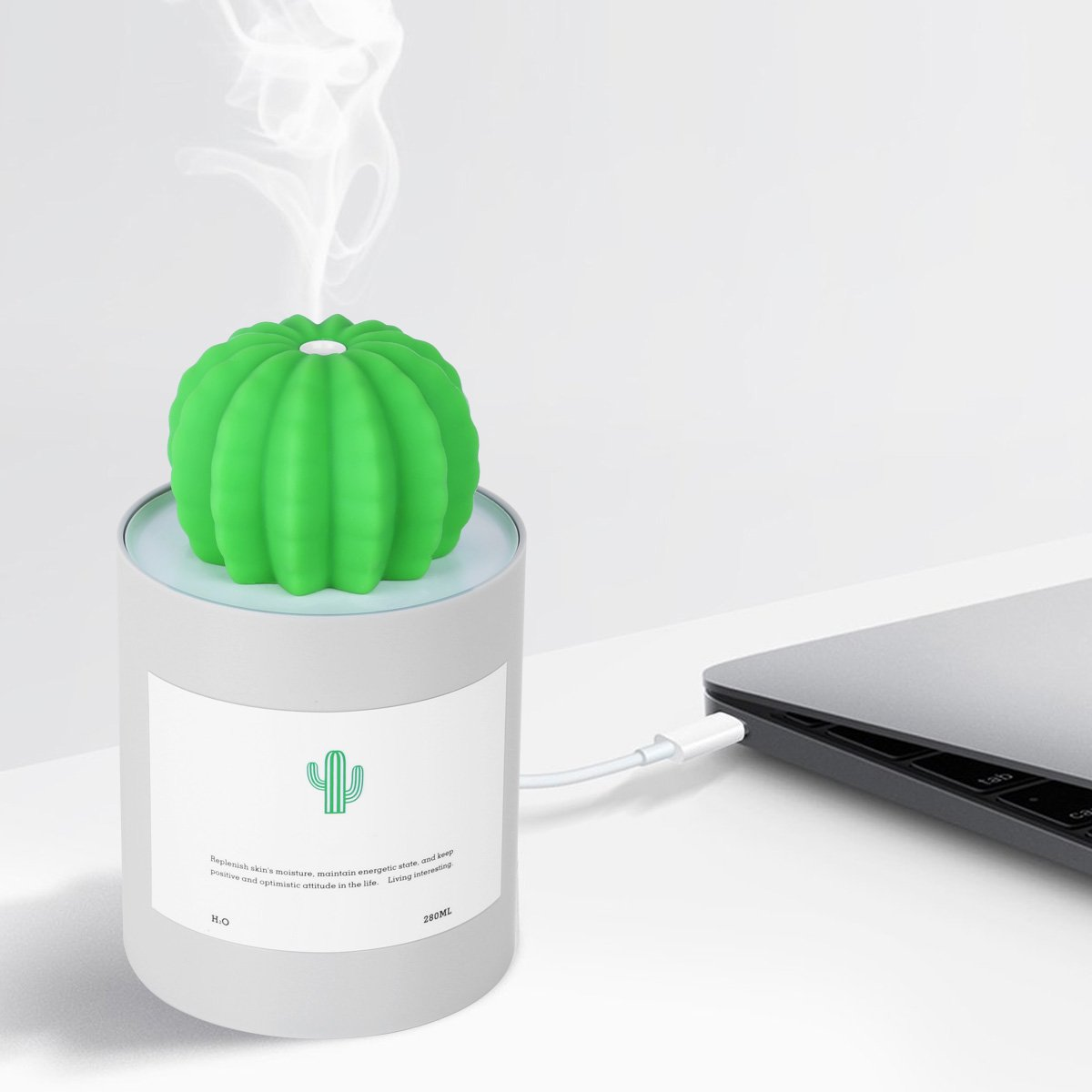 Mini Cactus Mist Humidifier Air Diffuser with Timed Auto Shutdown Low Noise for Car Office Desk Home Baby Bedroom Gray One Size