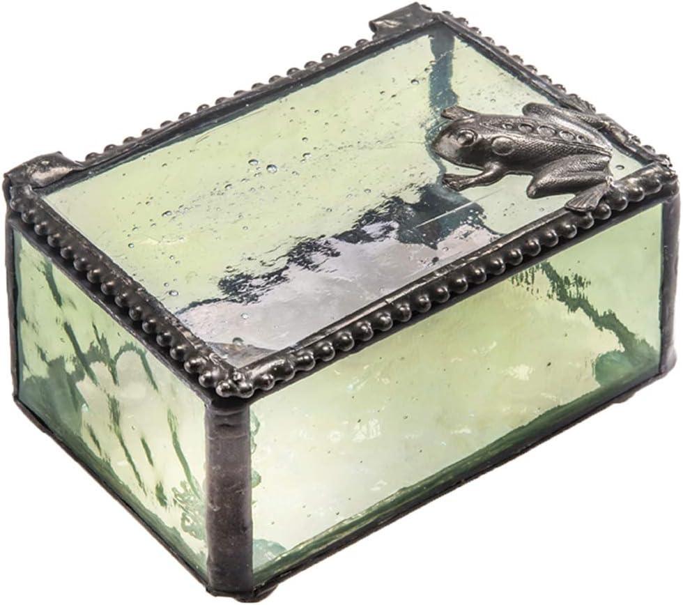 Frog Trinket Box Green Glass Jewelry Keepsake Display Decorative Boxes Nature Themed Home Décor Knick Knacks Trinket Dish Ring Holder Box 174