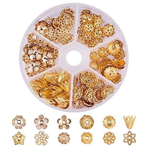 Brass Bead Caps - PandaHall Elite About 144 Pcs Brass Flower Bead Caps 12 Styles Jewelry Making Golden