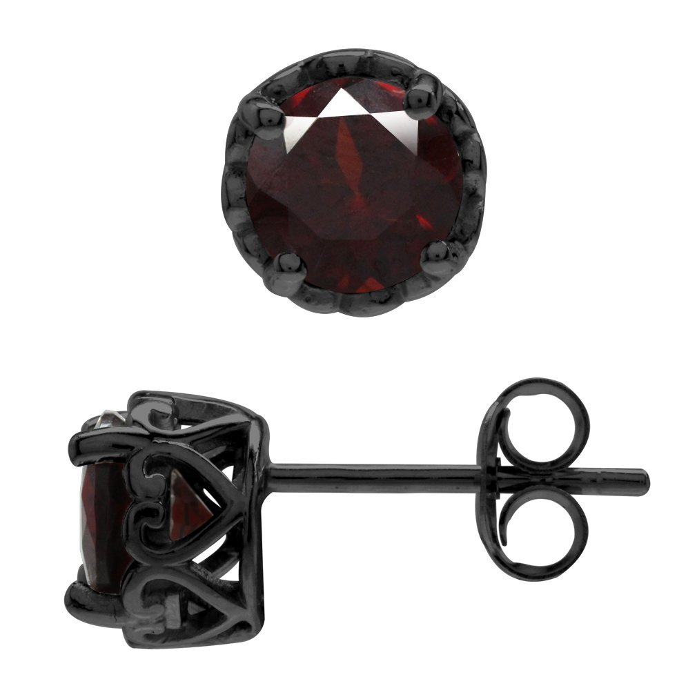 1.9ct. Natural Garnet Black Rhodium Plated 925 Sterling Silver Victorian Style Stud/Post Earrings