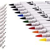 Dual Tip Brush Pens,SAYEEC 12 Colors Aquarelle Dual Tip Highlighters Brush Tip(1mm-2mm) with Fineliner Tip 0.4mm Art Marker Soft Flexible Tip Create Watercolour Effect - Best for Adult Colouring Books/Manga/Comic/Calligraphy