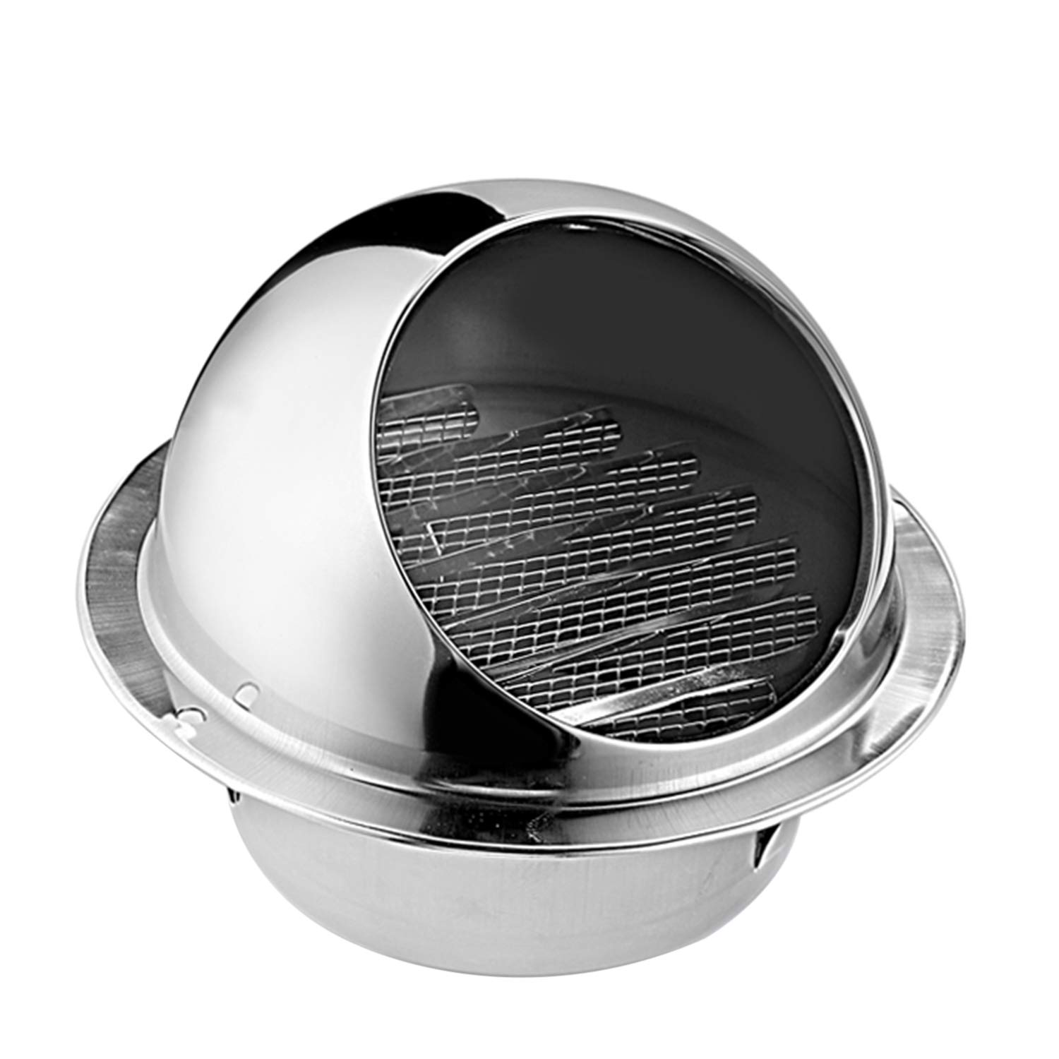 Hon/&Guan 4 inch 304 Thick Stainless Steel Air Vent Sphere Ventilation Grill Cover Hooded Cowl External Extractor Wall Air Outlet