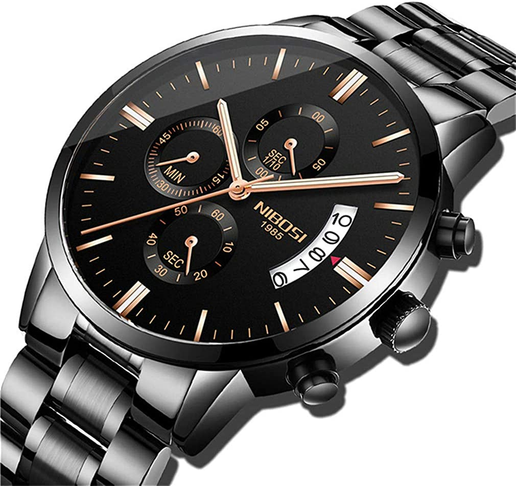 Relojes para Hombre Deportivo Acero Inoxidable Impermeable Reloj de Cuarzo Analógico Hombres Cronógrafo Casual Militar Negro Fecha Reloj de Pulsera