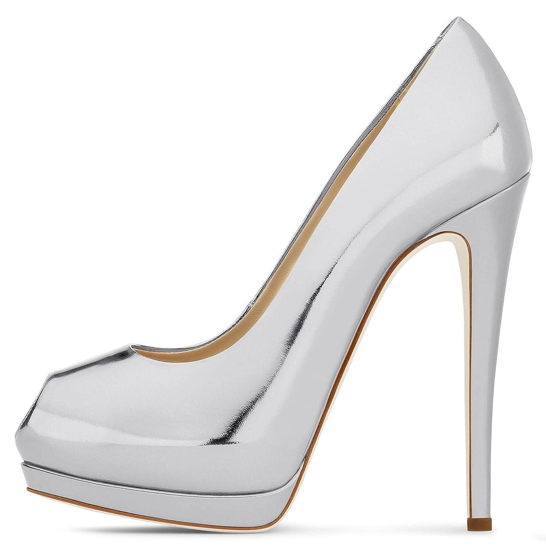 Elobaby Frauen High / Heels FrüHling / Sommer / High Herbst / Peep Toe / Plattform Lackleder & abend Hochzeit / Party / Rock # Silver 371cc2