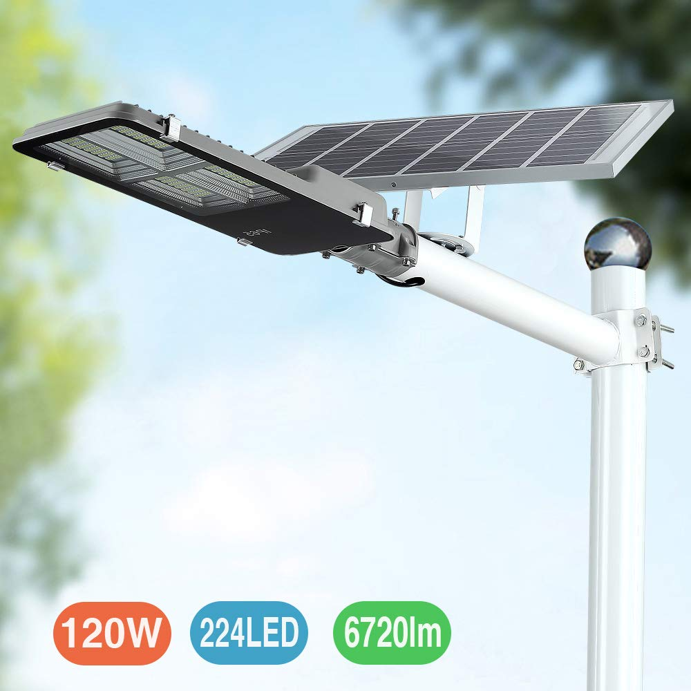 120W LED Solar Street Lights, Outdoor Dusk to Dawn Pole Light with Remote Control, Waterproof, Ideal for Parking Lot, Stadium, Yard, Garage and Garden (Cool White)