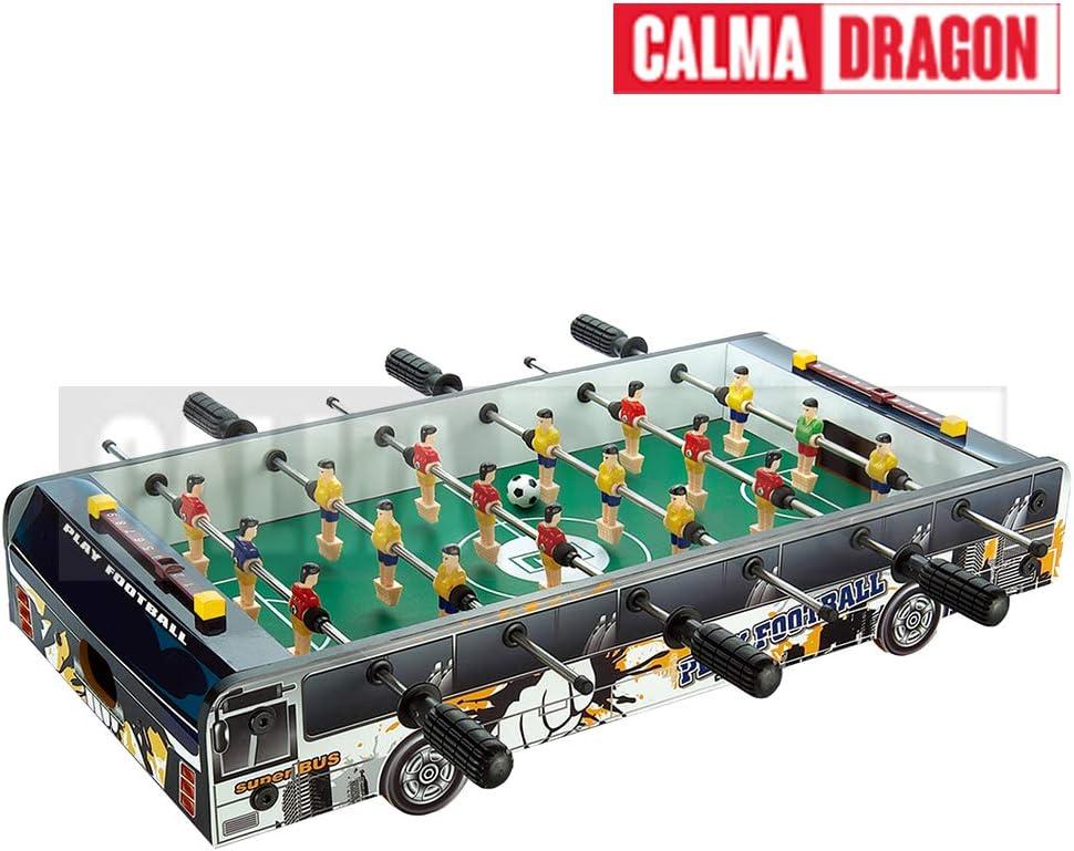Calma Dragon Futbolín de Mesa Juego Mesa de Fútbol 60x30x11cm para Niños y Adultos