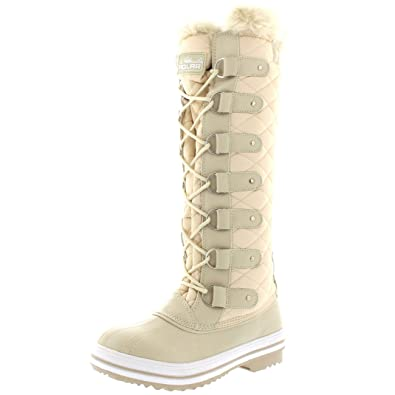 Polar Products Womens Quilted Knee High Duck Rain Lace Up Muck Snow
