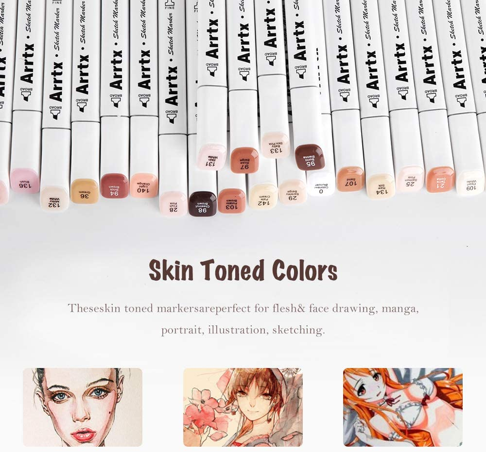 24 Colors Dual Tip Twin Marker Pens with Carry Bag Permanent Alcohol Based Art Markers Pen for Portrait Illustration Sketching Drawing Coloring Arrtx Skin Tone Markers