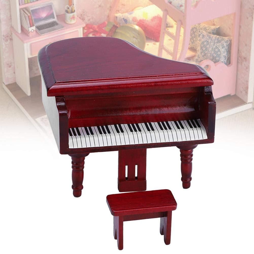 Puppenhaus Klavier Set 1:12 Mini Simulation Holz Puppenhaus M/öbel Fl/ügel mit Hocker Puppenhaus Modell Szene Spielzeug Wei/ß