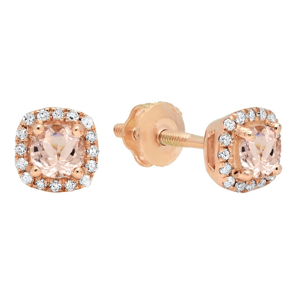 10K Rose Gold Round Cut Morganite & White Diamond Ladies Halo Style Stud Earrings by DazzlingRock Collection