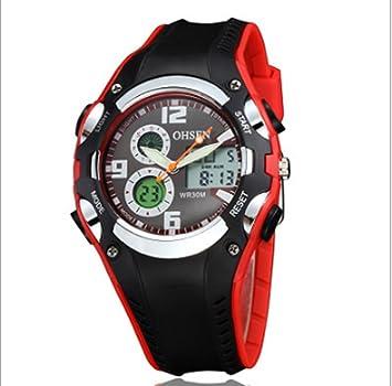 swall owuk Mode Reloj de pulsera Outdoor Sport Relojes Led Dual Display Relojes de pulsera banda