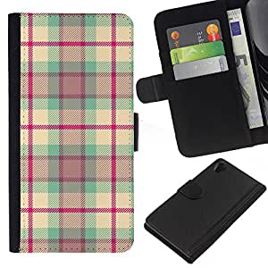 KingStore / Leather Etui en cuir / Sony Xperia Z2 D6502 / Conception Tissu Rose