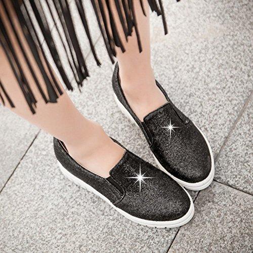 Carolbar Womens Bling Bling Sequins Shiny Fashion Comfort Casual Popular Flats Shoes Black Is8MKma