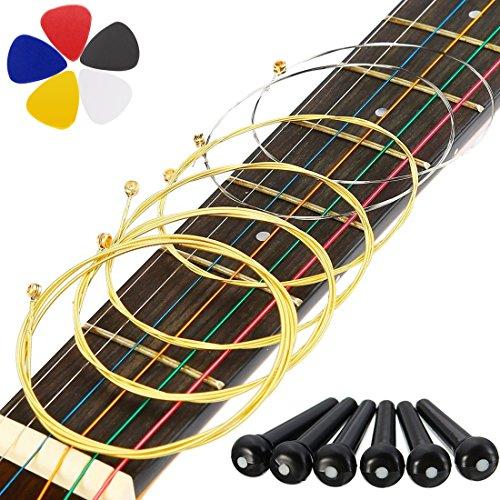- DIY Acoustic Guitar Strings Beginner to Pro, Galabox 6 Medium Golden Guitar Strings with 6pcs ABS Plastic Bridge Pins