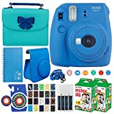 Fujifilm instax mini 9 Instant Film Camera (Cobalt Blue) + Fujifilm Instax Film (40 Shots) + Accessory & Camera Case + Batteries & Charger + 20 Sticker Frames for Fuji Instax Prints Solar Package