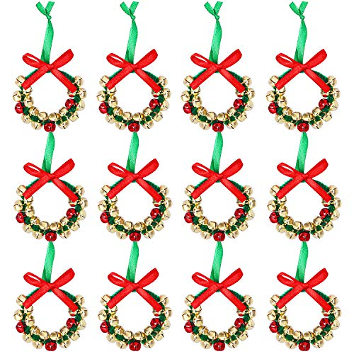Aneco 12 Pack Christmas Jingle Bell Wreath Ornament Craft Kits Xmas Party Decoration Bells Wreaths for Christmas Craft Supplies (Craft Easy Xmas)