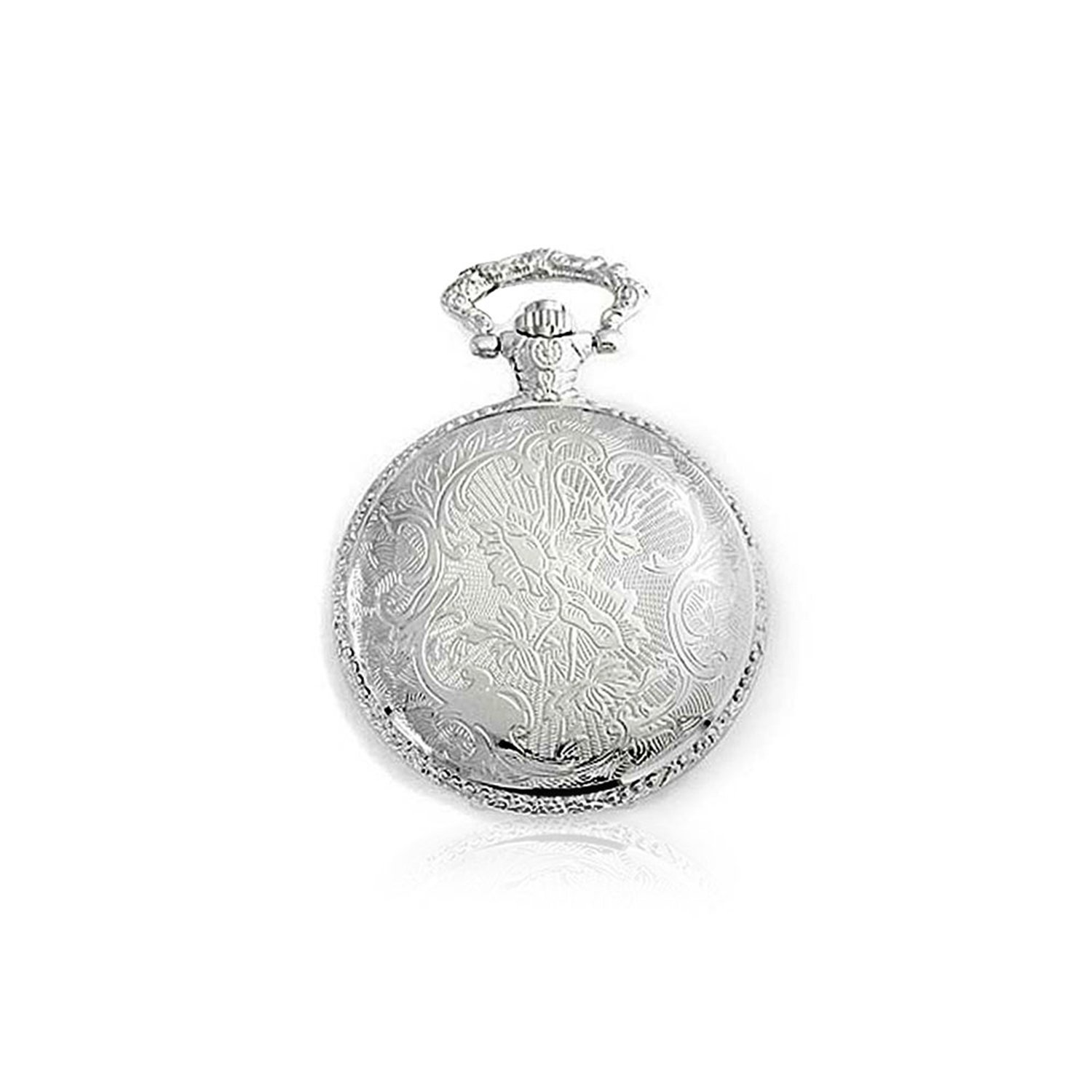 Two Tone Steam Train Railroad Roman Numerals White Dial Pocket Watch for Men Silver Plating Gold Plated Alloy with Chain