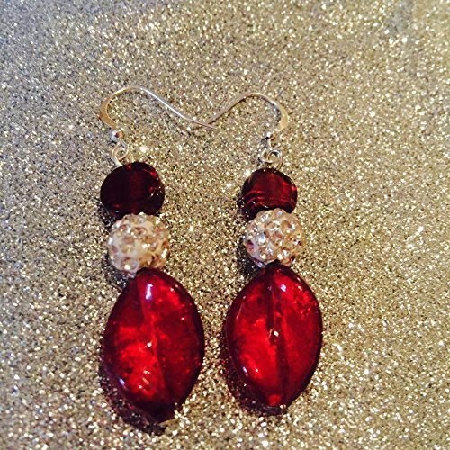 Red Italian Murano Glass Swirl Earrings