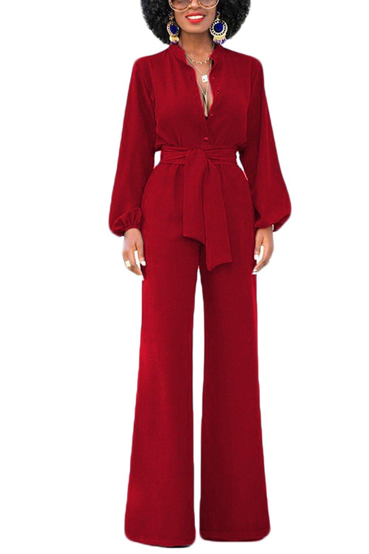 Zamtapary Women Elegant Long Sleeve Button V Neck Wide Leg Jumpsuits Romper with Belt CAVI1161