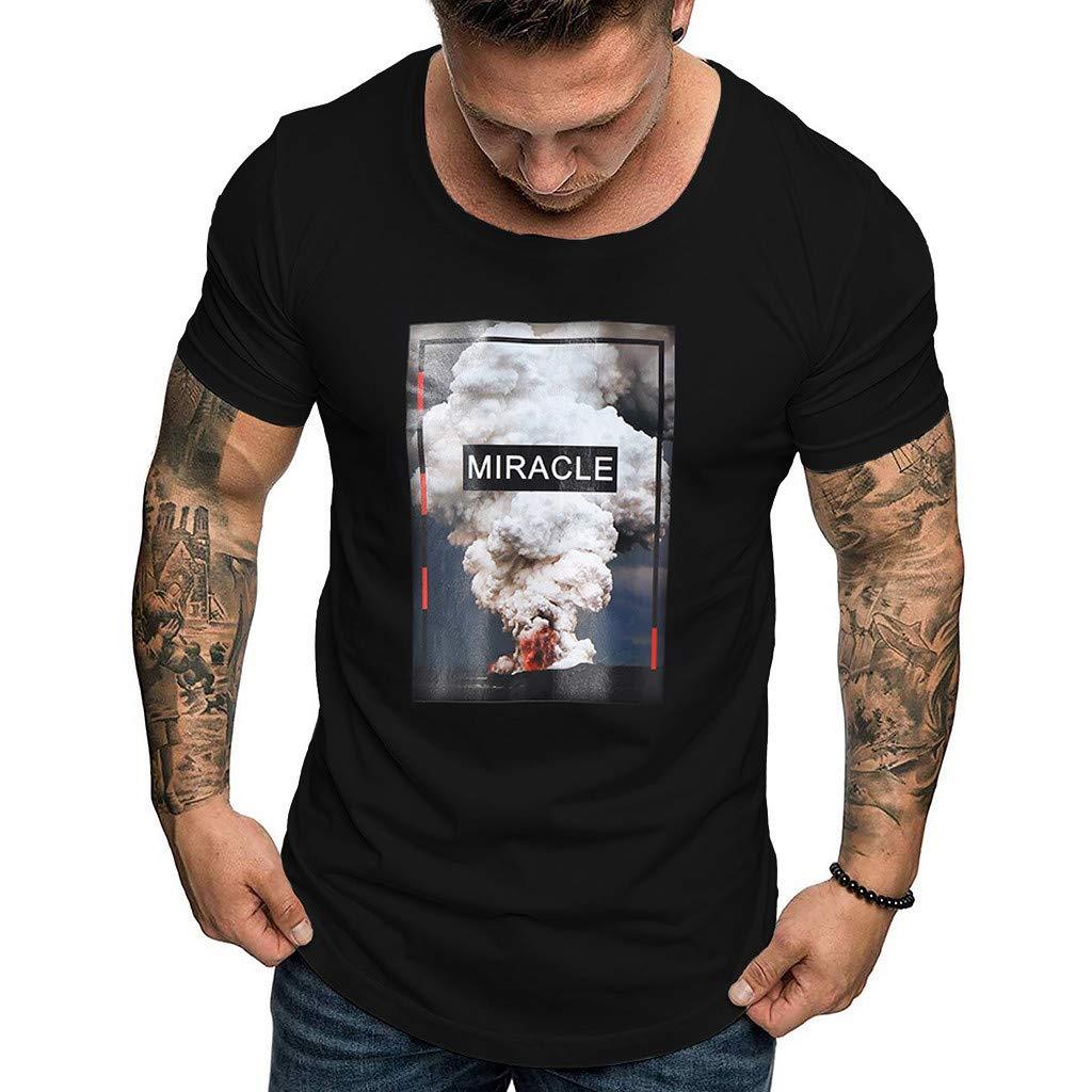 Men's Shirts Short Sleeve Fashion Casual Color Cotton O-Neck Print Top Blouse Black