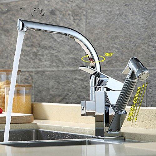 MEIBATH Waschtischarmatur Badezimmer Waschbecken Wasserhahn Küchenarmaturen Warmes und Kaltes Wasser Messing Ausziehbare drehbare Spray Küchen Wasserhahn Badarmatur