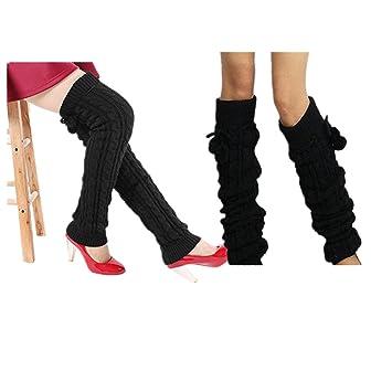 Calcetines largos por encima de la rodilla de punto, tejido acrílico, calentadores cálidos para