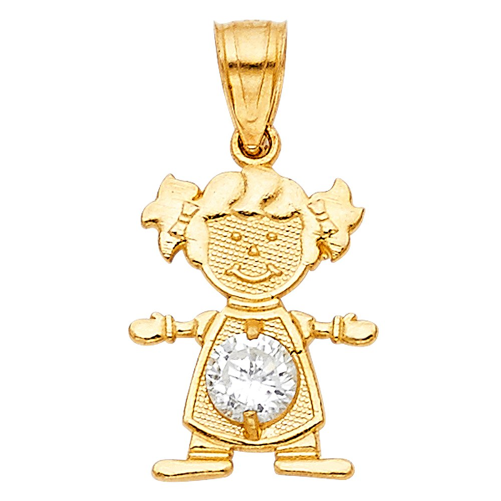 14K Yellow Gold April Birthstone Cubic Zirconia CZ Girl Charm Pendant with 1.2mm Flat Open Wheat Chain Necklace